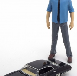 1:64-Chevrolet Impala Sport Sedan sa 1:18-figura Dean-TV Serija Supernatural-1967-crni-Greenlight