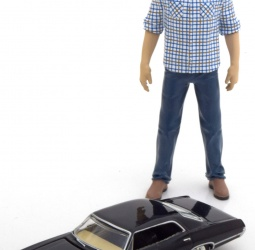 1:64-Chevrolet Impala Sport Sedan sa 1:18-figura Sam-TV Serija Supernatural-1967-crni-Greenlight