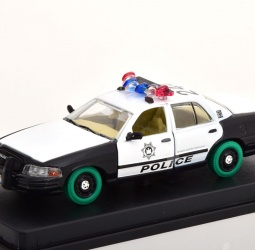1:43-Ford Crown Victoria-Police Interceptor-TV Series The Hangover-2000-bijelo-crni sa zelenim gumama-Greenlight